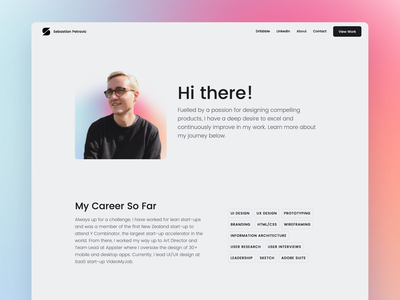 Portfolio - About Page color landing page portfolio personal simple website minimal ux ui modern clean