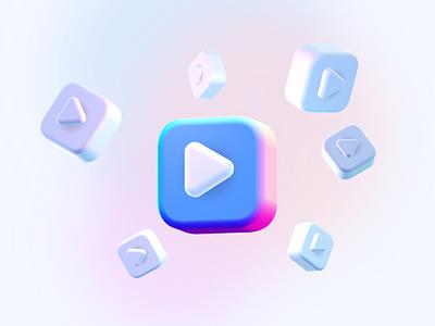 3d Video Icon With Spline play video spline 3d icon illustration minimal modern clean