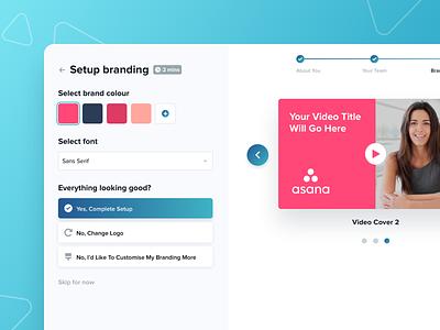 Video Branding Editor account setup onboarding branding video design simple website minimal ux ui modern clean
