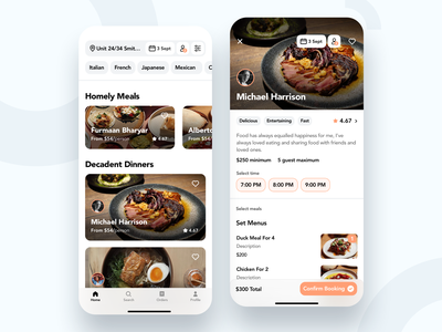 Book a Chef App fun restaurant food app mobile simple minimal ux ui modern clean