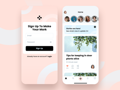 Article app rose feminine soft sign up app mobile simple minimal ux ui modern clean