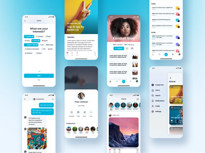 Social Media UI Kit app vibrant fun minimal ux ui modern clean mobile ui uikit facebook instagram social media gumroad social ui kit design