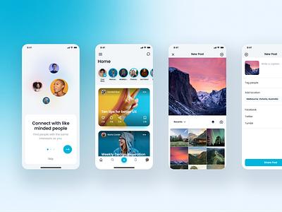Social Media UI Kit ui kit design social gumroad social media instagram facebook ui kit mobile ui clean uimodern ux minimal fun vibrant app