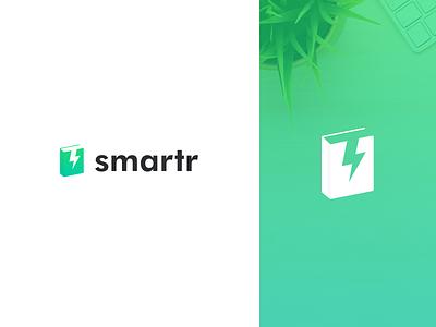 smartr logo bold minimal modern simple thunder lightning book learning school fun clean logo