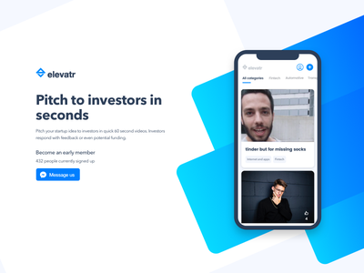 Elevatr Website bold clean colourful modern landing page ux ui pitch invest