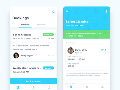 hygea bookings card booking color fun modern minimal clean ios app cleaning ux ui