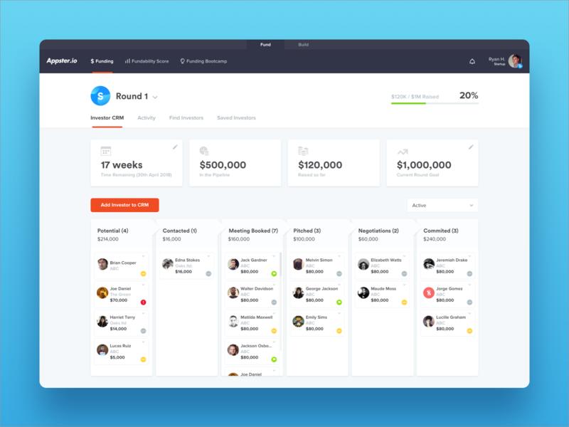 Investor Database Dashboard cards crm admin panel web admin dashboard web app website minimal ux modern ui clean
