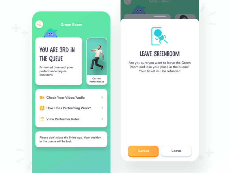 Live Streaming Green Room avatar pop up modal live streaming illustration card colorful color fun app minimal modern clean ux ui