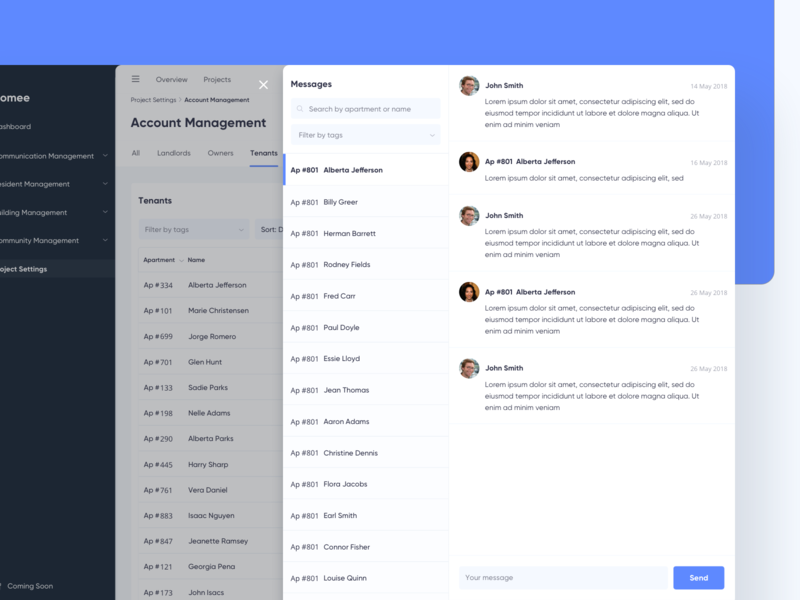 Property Management - Chat message chat property dashboard admin web app website minimal ux modern ui clean