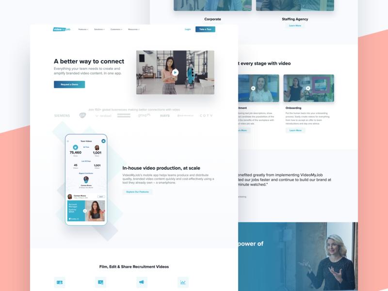 VideMyJob  New Hero Vid pastel video design landing page simple app website minimal modern clean ux ui
