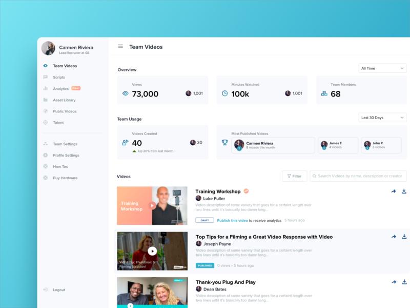 VideoMyJob Dashboard Redesign web app admin panel admin video dashboad design website minimal ux modern ui clean