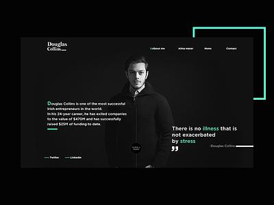 Douglas Collins white black website portfolio ui