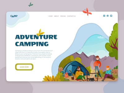 Adventure camping web ui website web design