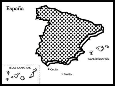 Map Of Spain (Postcard)
