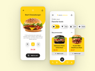 Fast Food Delivery App uidesign yellow food delivery figma delivery service delivery food burger menu food app ui design burger ui mobile app design mobile design mobile app mobile ui mobile delivery app fast food fastfood