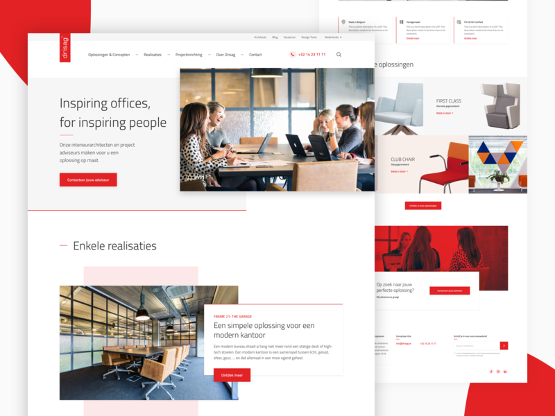 Office Inspirators web design webdesign interior furniture responsive website typogaphy web type layout ux light ui