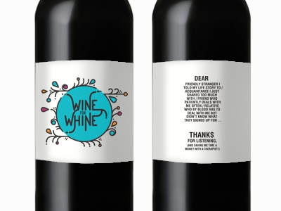 wine for whine wine whine label illustration type logo typography branches bottle flourishes floral leaves