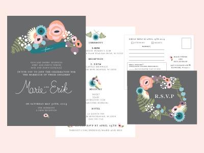 wedding invite floral illustration rustic vintage wedding invitation rsvp