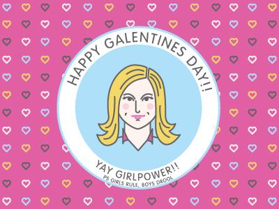 galentines day! galentines parks and recreation leslie knope portrait celeb valentines