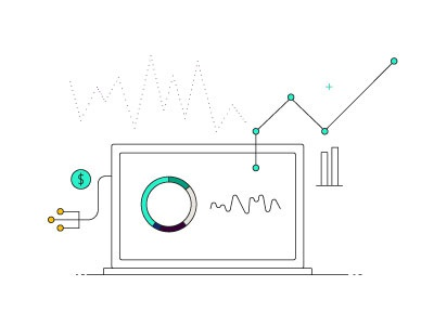 Data bits illustration finance laptop data
