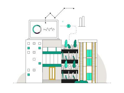 City bits illustration finance smart city buildings city infrastructure data
