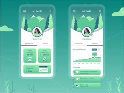 User profile green beginner meditation app meditation productdesign profile design mobile design mobile app ux ui figma daily ui