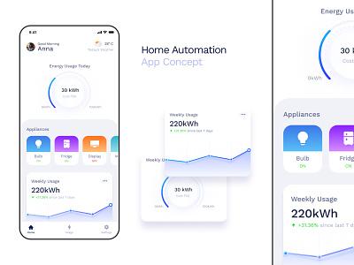 Home Automation App Concept web type flat app design illustration typography minimal ui ux