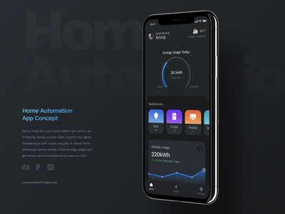 Dark Mode for Home Automation UI design ios android web typography minimal flat clean app ui ux