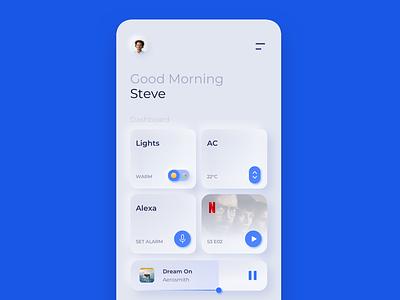 Clean Home Dashboard UI interface typography web app flat minimal ux ui dashboad clean