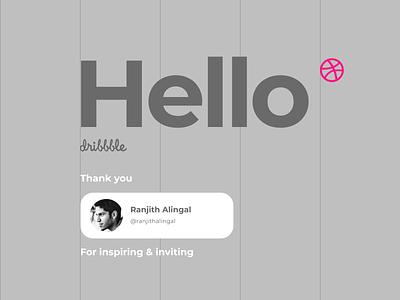 Hello Dribbble! type flat minimal ux vector ui design typography debut