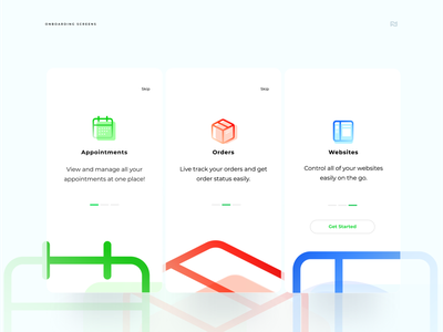 Onboarding Screens for an appointment App typography android clean ux ui type web app minimal flat