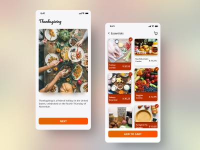 Thanksgiving Essentials App ui design festival clean interface mobile app android app ios app shopping thanksgiving modern uxdesign ui ux typography illustration dribbble design colors behance app