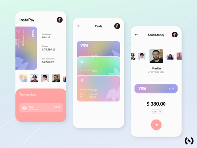 InstaPay App concept best shot cards manager cards clean banking banking app neobanking app finance app finance fintech fintech app app ui ux design minimal dribbble colors