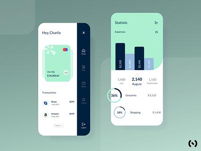 Personal Bank App finance manager best dribbble shot personal banking banking app bank fintech app finance app finance fintech illustration app ux design ui minimal dribbble colors
