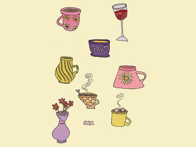 Pottery & Tea design minimal illustration graphic design