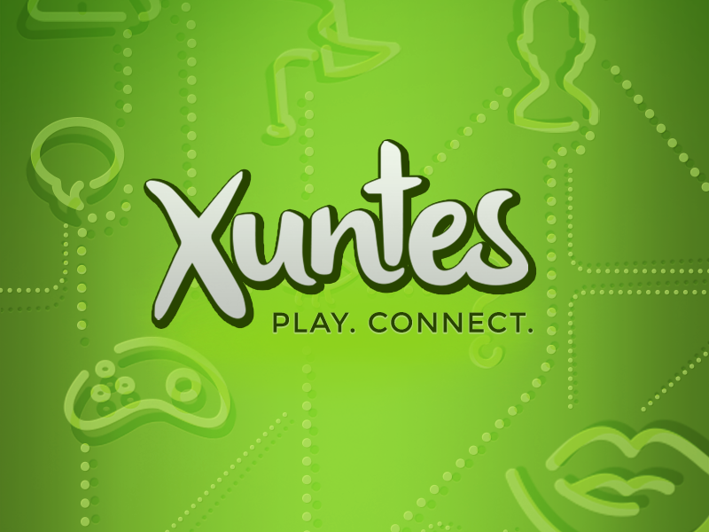 Branding social gaming app ui app social logo green playfull xuntes play connect branding icons background fresh happy logotype