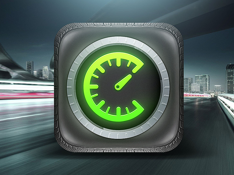 Tirecheck App Icon tire check app ios icon iphone tires wheel clock time pressure meter road plastic texture metal glow green design ui logo mobile