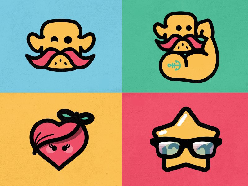 Mascot - Flat characters cartoon vector illustration character heart star power mustache color flat