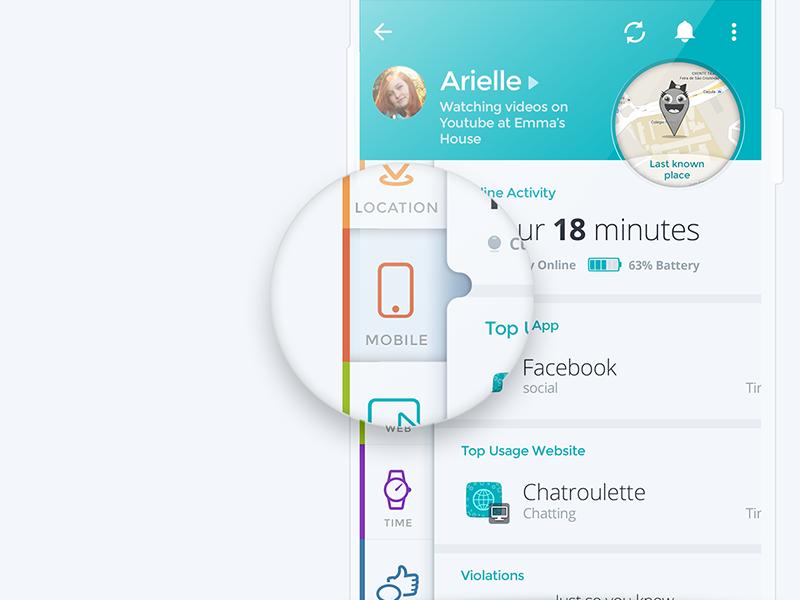 Parental Control App material design colors bright white tabs sliding menu icon design ux ui app