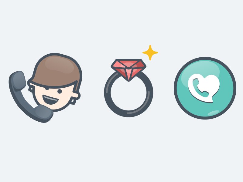 New icons for a cool dating app - coming soon! dating app happy smile illustrated flat heart icon call phone ring diamond