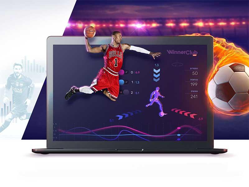 Winnerclub design header website bulls ball fire soccer analytics basketball winner sports