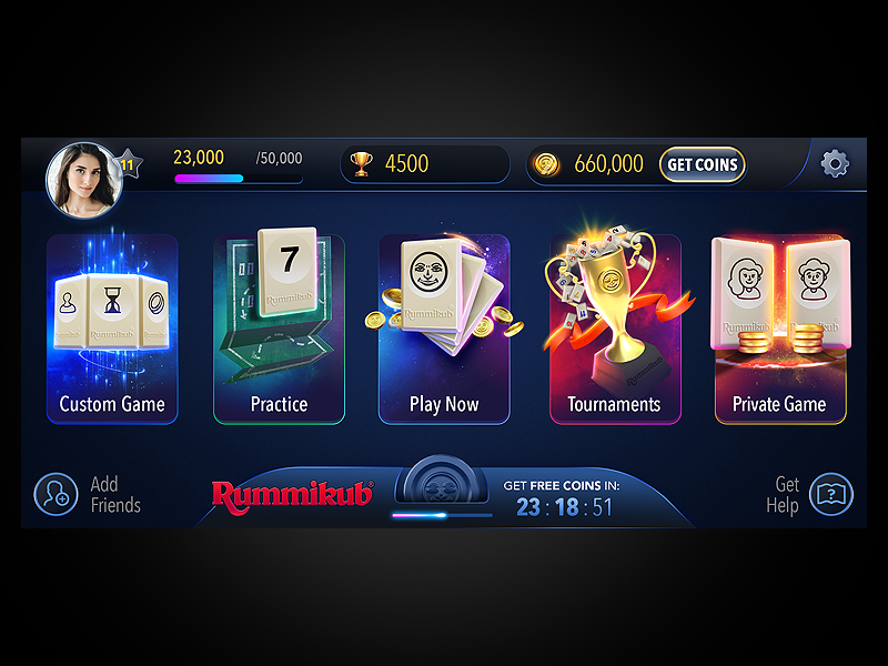 Rummikub Game app mobile ux art 3d menu cards bet ui game