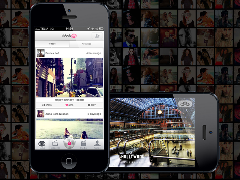 VideofyMe App video app startup videofyme ui ux gray white pink iphone ios iphone5 dark light