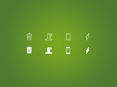 Line Icons glyph iphone ios icon icons flash smartphone trash line icons add user green white