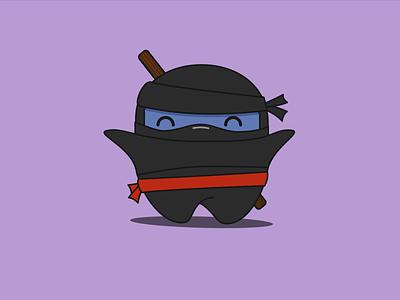 Ninja ninja cute happy illustration vector drawing mask cartoon character chubby wand belt