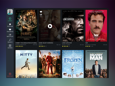 Movee Concept movie video app concept ui interface steaming latest icons rating play