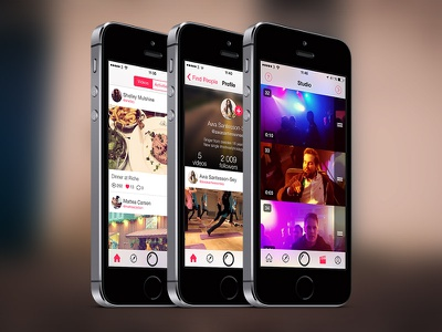 VideofyMe for iOS 7 ios 7 ios7 app video iphone feed profile studio tab bar