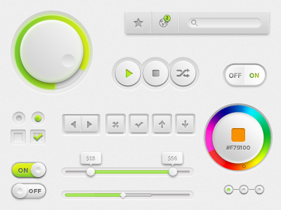 Lime/White UI ui ux control wheel volume lime green white gray knob progress radiobutton checkbox color picker colorpicker on off onoff notification favorite tooltip switch search scroll scrollbar handle