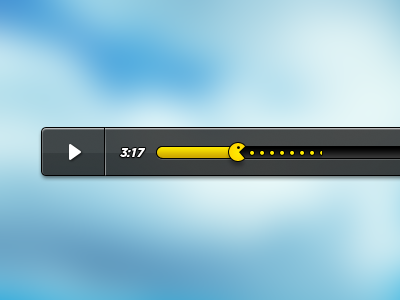 Pacplayer media player ui ux pacman video yellow white black gray layer shape play progress videoplayer