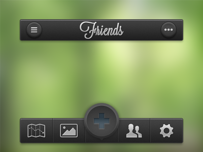 iPhone App UI iphone app ui button icon parts green gray black white dark friends map picture settings more list add @2x retina